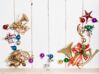 christmas  concept white wood background