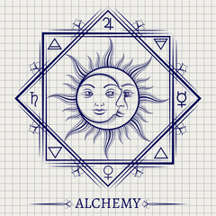 Sketch of sun moon and other alchemy elements on notebook page. Vector illustration