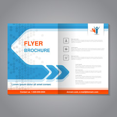Vector modern brochure, abstract flyer with simple dotted design. Layout template with arrow. Aspect Ratio for A4 size. Poster of blue, orange, grey and white color. Magazine cover with human symbol.