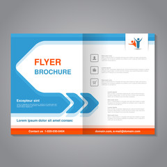 Vector modern brochure, abstract flyer with simple design. Layout template with arrow. Aspect Ratio for A4 size. Poster of blue, orange, grey and white color. Magazine cover with human symbol.