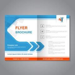 Vector modern brochure, abstract flyer with simple square design. Layout template with arrow. Aspect Ratio for A4 size. Poster of blue, orange, grey and white color. Magazine cover with human symbol.