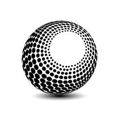 Vector globe symbol - 3d icon of sphere, dotted orb