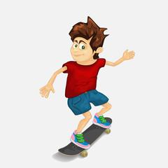 Funny guy riding on a skateboard. Summer fun. Vector illustration.
