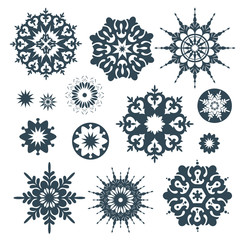 Collection of black snowflakes on a white background