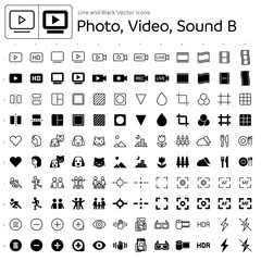 Line and Black Vector Icons - Photo, Video, Sound B