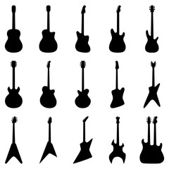 Set of silhouettes of acoustic guitars, electric guitars, vector illustration