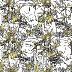 Seamless pattern with wild animals : elephant with elephant, zebra, camel, tiger, lion, giraffe, crocodile, hippopotamus. Coloring, drawing wallpaper.