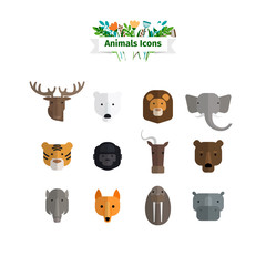 Wild Animals Faces Flat Avatars Set. Vector illustration