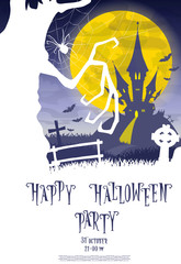 Halloween background. Silhouette scary monsters trees on old cemetery backdrop moon, bats and graves. Design for concept banner, poster, flyer, cards or invites on party. Cartoon style. Vector
