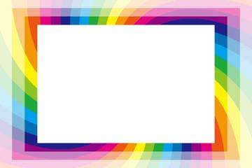 背景素材壁紙,写真枠,フォトフレーム,虹色,レインボーカラー,コピースペース,カラフル,楽しい,渦,螺旋,スパイラル