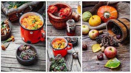 Autumn still-life collage