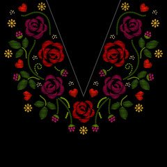 Wall Mural - Neck line embroidery with roses flowers vector illustration