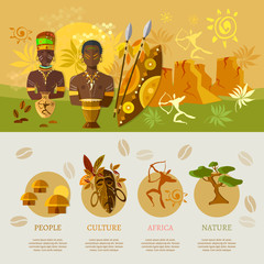 African infographic elements banner Africa culture and tradition