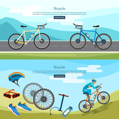 Bicycle riding banner active lifestyle professional cycling