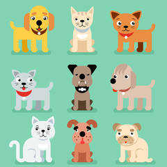 Puppy and kitten vector pet flat icons