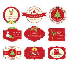 Set of christmas label