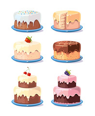 Cream cake tasty cakes vector set in cartoon style