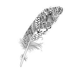 Hand drawn stylized boho feather and doodle tribal ornamental black feather. Isolated icon. Decorative vintage graphic vector art.