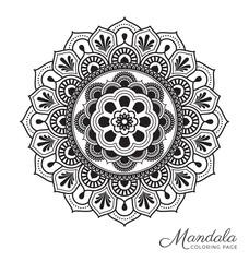 Mandala decorative ornament design for adult coloring page, greeting card, invitation, tattoo, yoga and spa symbol. Vector illustration