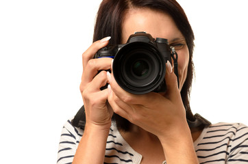 Close up of woman pointing a camera