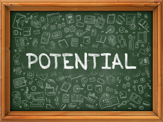 Potential - Hand Drawn on Green Chalkboard.