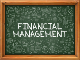 Green Chalkboard with Hand Drawn Financial Management.