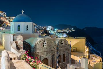 Night view of St.Nicholas at oia , Santorini