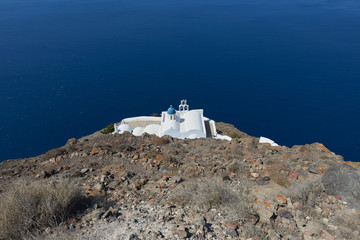 Church of Panagia theoskepasti , the church down of skaros rock at imerovigli