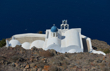 Church of Panagia theoskepasti , the church down of skaros rock at imerovigli