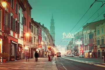 Night life in the town. Filtered image. Parma, Italy.