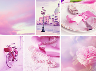 Travel in Italy. Set of pink colored photos.