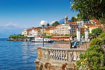 Scenic Como lake and Bellagio town in summer, Italy.