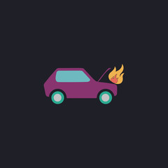 Car fired computer symbol
