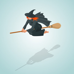 Isometric Pin-up witch flying on her broom
