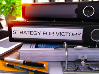 Black Office Folder with Inscription Strategy for Victory. 3D.