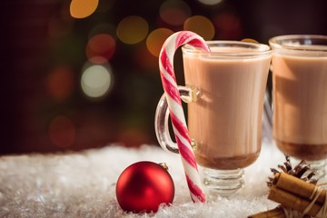 Extreme close up view of composite image of hot chocolates