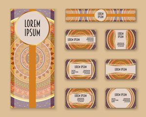 Business cards, invitations and banner template set. Ethnic mandala pattern and ornaments in boho style.