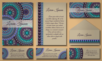 Invitation card collection. Vintage decorative elements. Islam, Arabic, Indian, ottoman motifs.