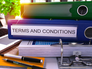 Terms and Conditions on Blue Office Folder. Toned Image. 3D.