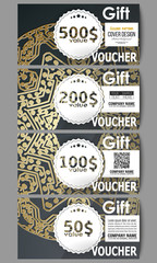 Set of modern gift voucher templates. Golden microchip pattern on dark background with connecting dots and lines, connection structure. Digital scientific vector