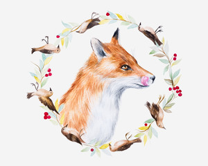 Watercolor illustration of a fox in a flowerly wreath