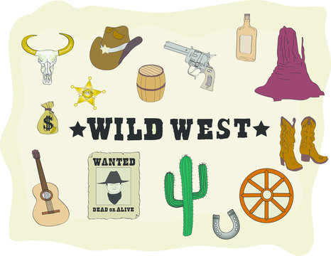 Wild West Element. Vector Cowboy Icons.