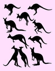 cute black silhouette of kangaroo, vector illustration