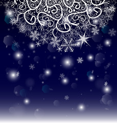 New Year Eve and Christmas background with snowflakes and snow drifts.