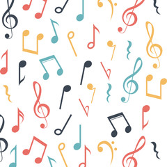 Music note icon. Sound melody and musical theme. Colorful and background design. Vector illustration