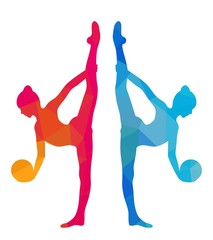 Silhouettes of gymnastic girl with ball. Colorful triangular style isolated