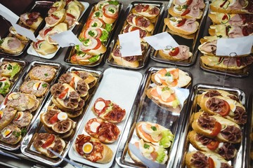 Tray of appetizers on a display