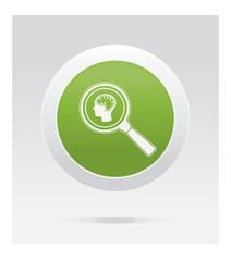 Brain observing. Medical icon. Green vector button.