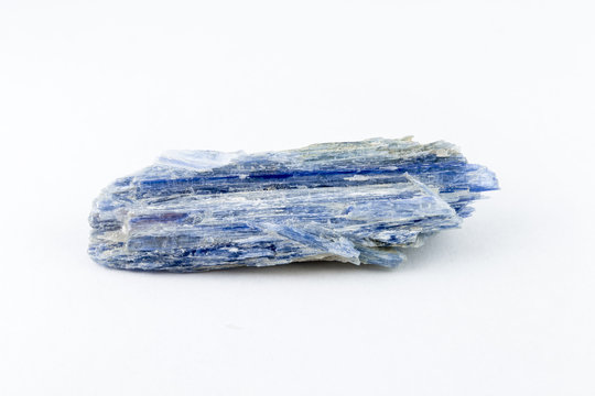Kyanite blue silicate mineral on white background