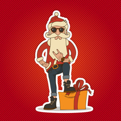 Hipster Santa Claus vector illustration